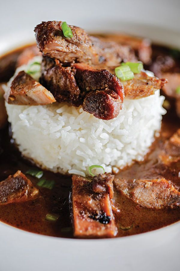Prejean's restaurant in Lafayette, Louisiana, dishes up this rich gumbo chock full of smoked duck and andouille sausage.