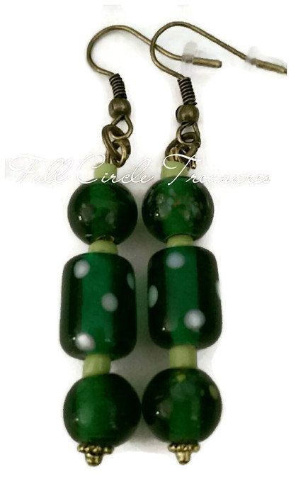 "Boho emerald green lampwork bead earrings, Hippie, Gift for her, OOAK, Vintage inspired, 2 1/4"" Green hand painted glass bead earrings."