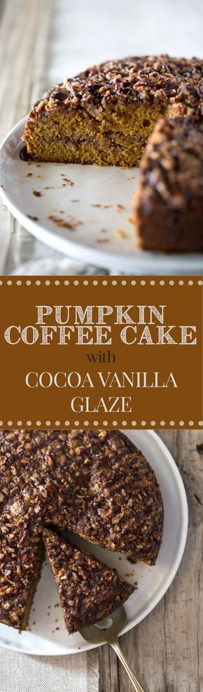 Pumpkin Coffee Cake with Cocoa Vanilla Glaze - An easy-to-make pumpkin coffee cake topped off with pecan streusel and drizzled with cocoa-vanilla glaze. I can't imagine a better way to get you in the mood for pumpkin season!