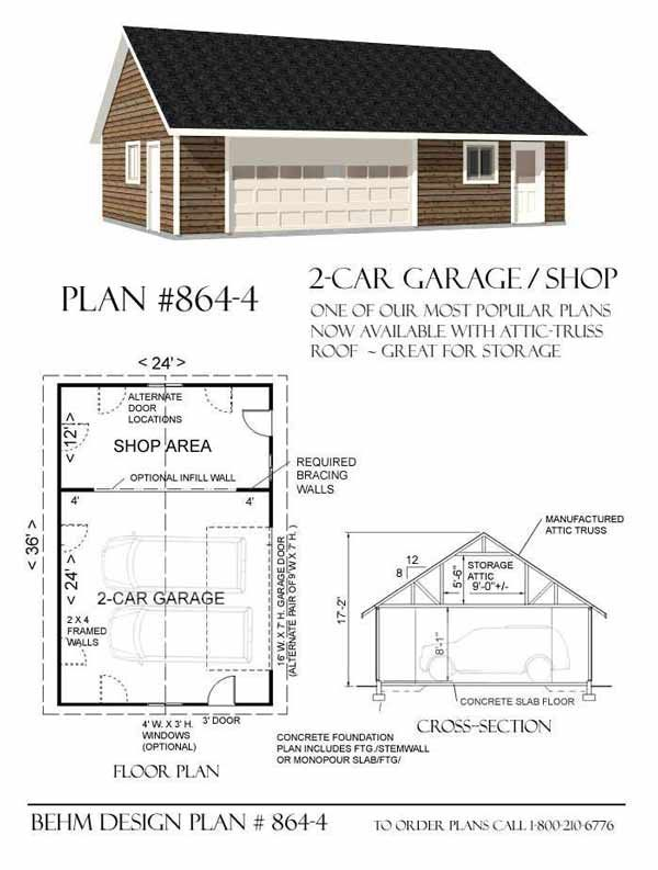 2 Car Garage With Shop Plans - 864-4 By Behm Design