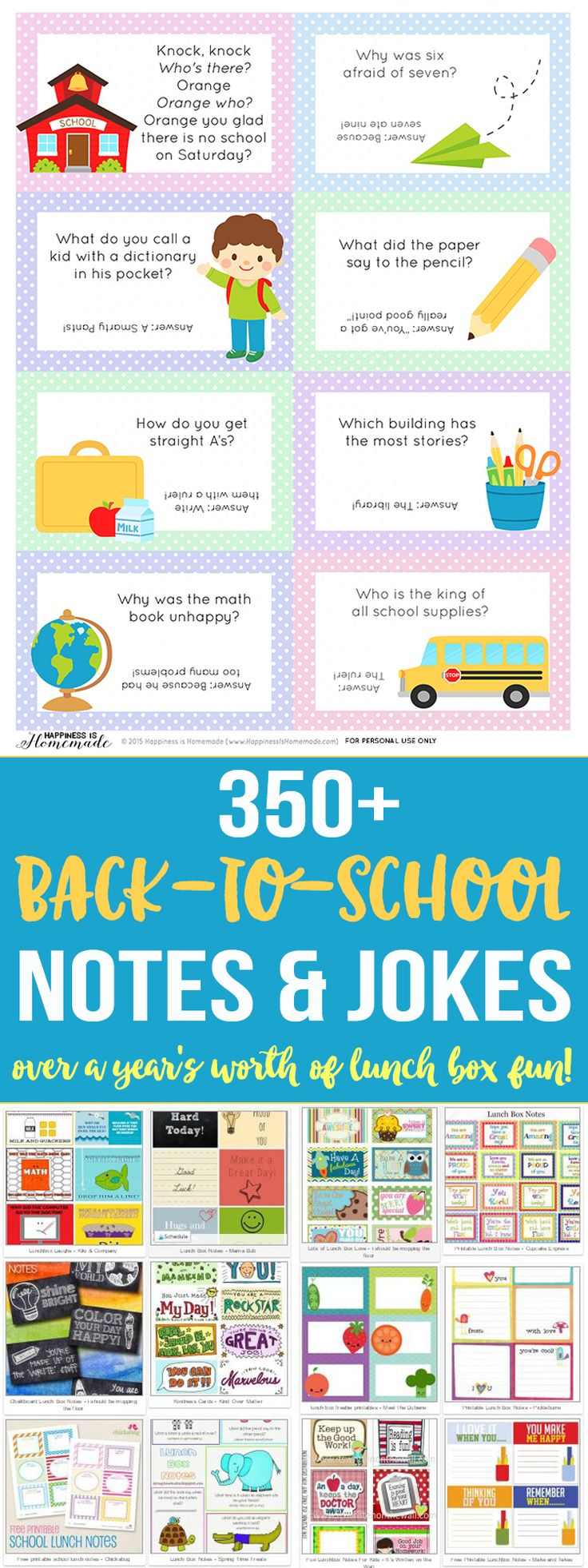 Back-to-School Lunch Box Jokes & Notes // Notas y chistes para el almuerzo del cole