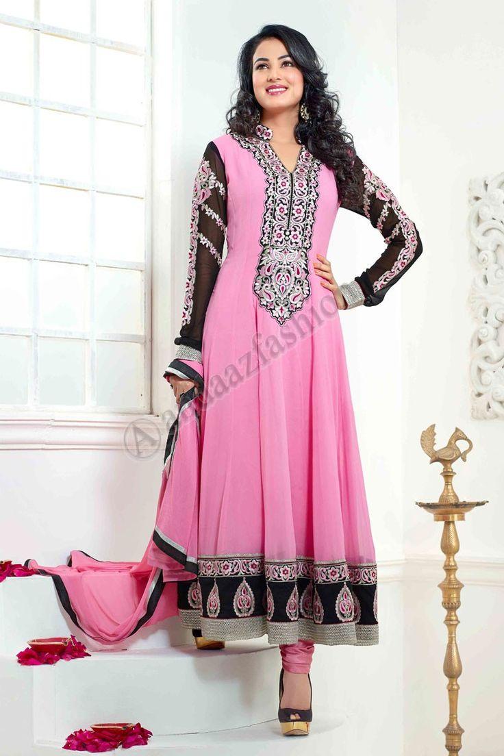 Pink Anarkali Churidar Suits Design No. DMV13131 Price:- £55.00 Dress Type:Anarkali Churidar Suit Fabric:Georgette Colour:             Pink Embellishments: Stone, Zari, Zircon, Full Sleeve Kameez For More Details:- http://www.andaazfashion.co.uk/pink-georgette-anarkali-churidar-suit-with-pink-chiffon-dupatta-dmv13131.html