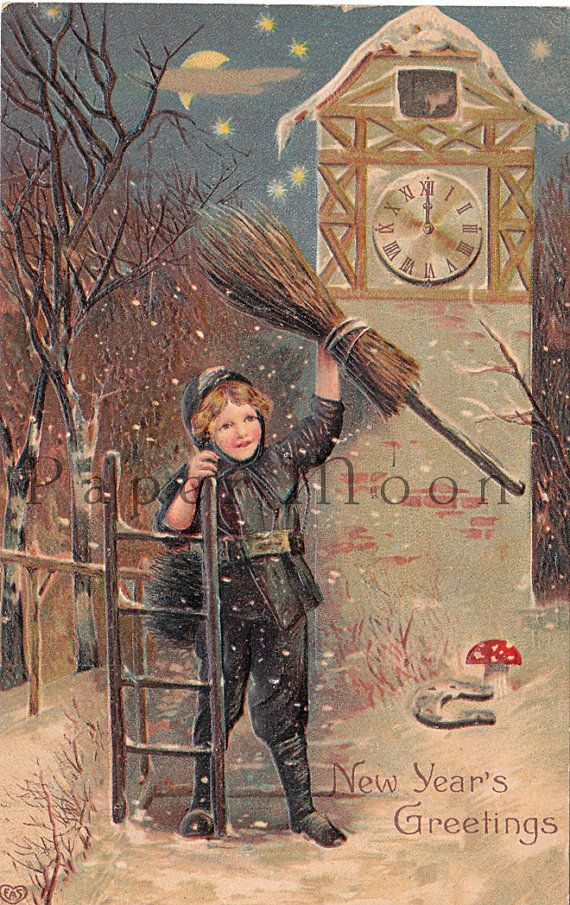Antique New Year Postcard Chimney Sweep Good by PaperMoonPostcards
