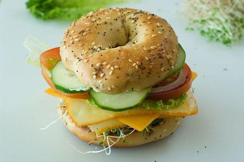 Veggie & Cheese Bagel, all sorts of yummy veggies, use a whole wheat bagel