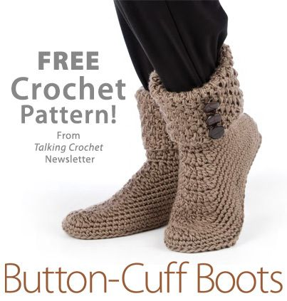 Button Cuff Boots Download from Talking Crochet newsletter. Click on the photo to access the free pattern. Sign up for this free newsletter here: AnniesNewsletters.com.