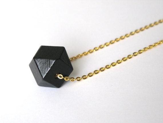 Minimalist geometric wooden beaded necklace by GoldLikeMountains, $21.00