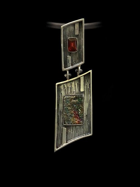 RAINBOW DRUZY Pendant, Handcrafted Pendant, Garnet Gemstone, Gemstone Pendant, Artisan Jewelry, 925 Sterling Silver , Multi Stone Pendant by AlenaZenaJewelry on Etsy
