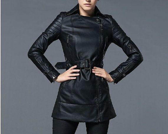 Fashion Black PU Leather Jacket Women Tunic Trench Coat Korean Style Long PU Leather Motorcycle Jacket Coat Large Size Jacket W/ Belt