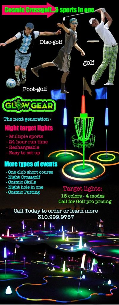Cosmic night golf meets crossgolf - footgolf (soccer) discgolf and golf can now live together in peace