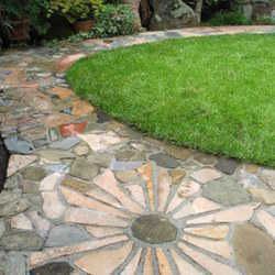 Like this flagstone path with flower shaped stone