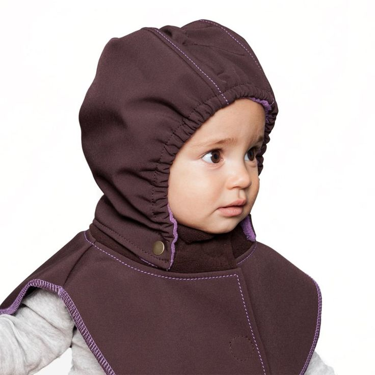 Baby Hood & Neck Warmer - Brown-purple #liliputistlye #babyhood #babywearingcoat