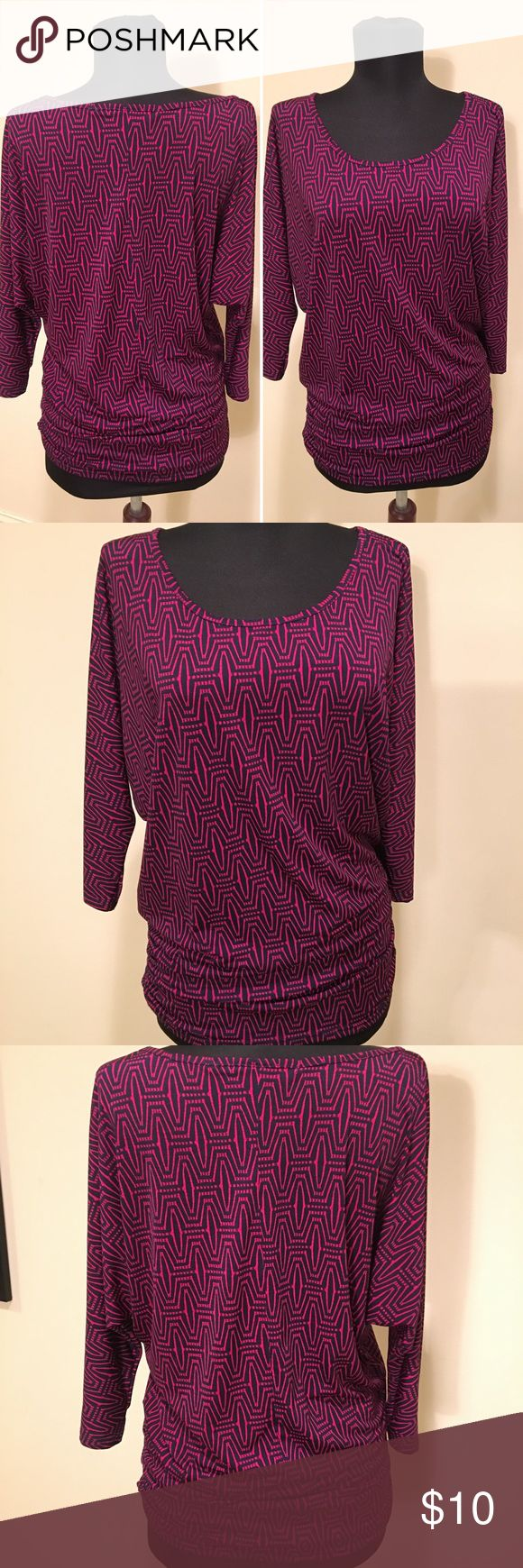 Fuschia and Navy Scoop Neck Knit Top Bright, geometric pattern on this easy to wear top. Looks great under a jacket or all by itself. Worn twice. THE BEST PART: Some proceeds will go toward providing professional clothing to homeless individuals who are seeking or maintaining employment. Tops Blouses
