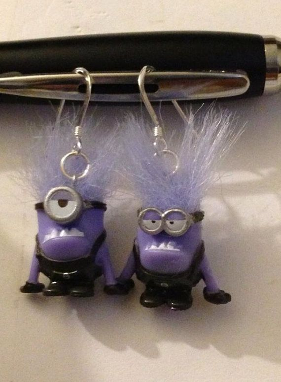 Evil minion Despicable me earrings  by ThePaintedOwls on Etsy, $12.00