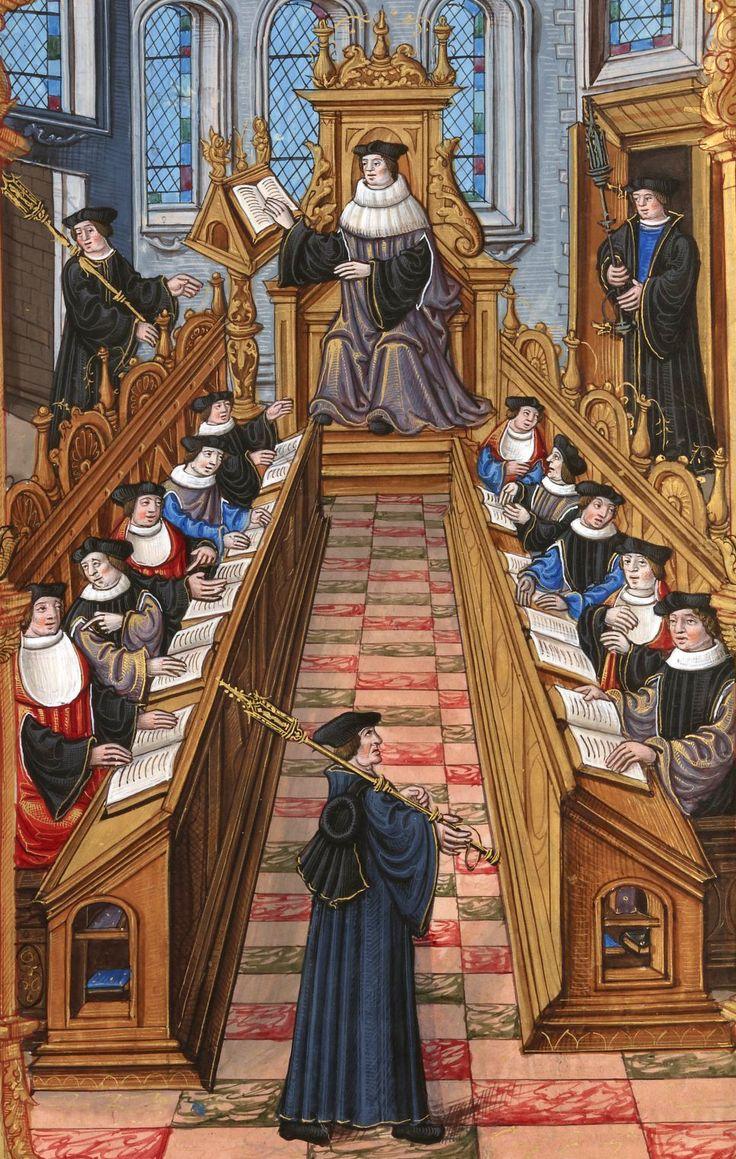 Reunião dos Doutores da Universidade de Paris.  A Partir de um Manuscrito medieval, provavelmente fazer XV Século.