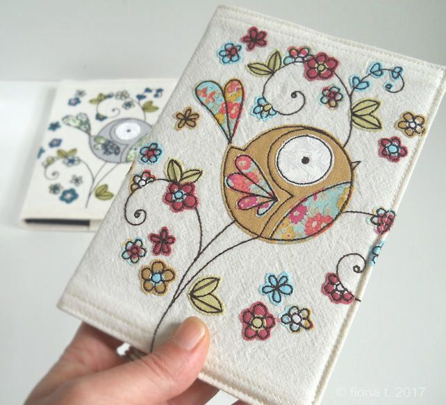 freemotion embroidered fabric notebook sketchbook cover floral bird - mustard £18.00