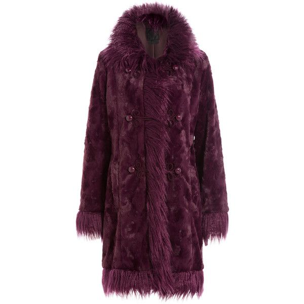 Anna Sui Faux Fur Coat (94.975 RUB) ❤ liked on Polyvore featuring outerwear, coats, red, red double breasted coat, red faux fur coat, fake fur coats, double-breasted coat and fake fur lined coats