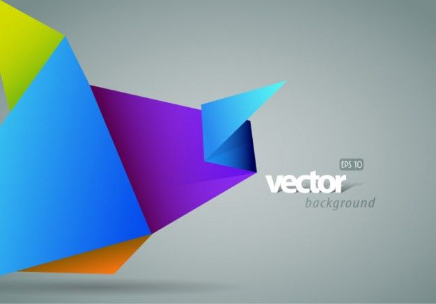 Colorful origami with gray background vector