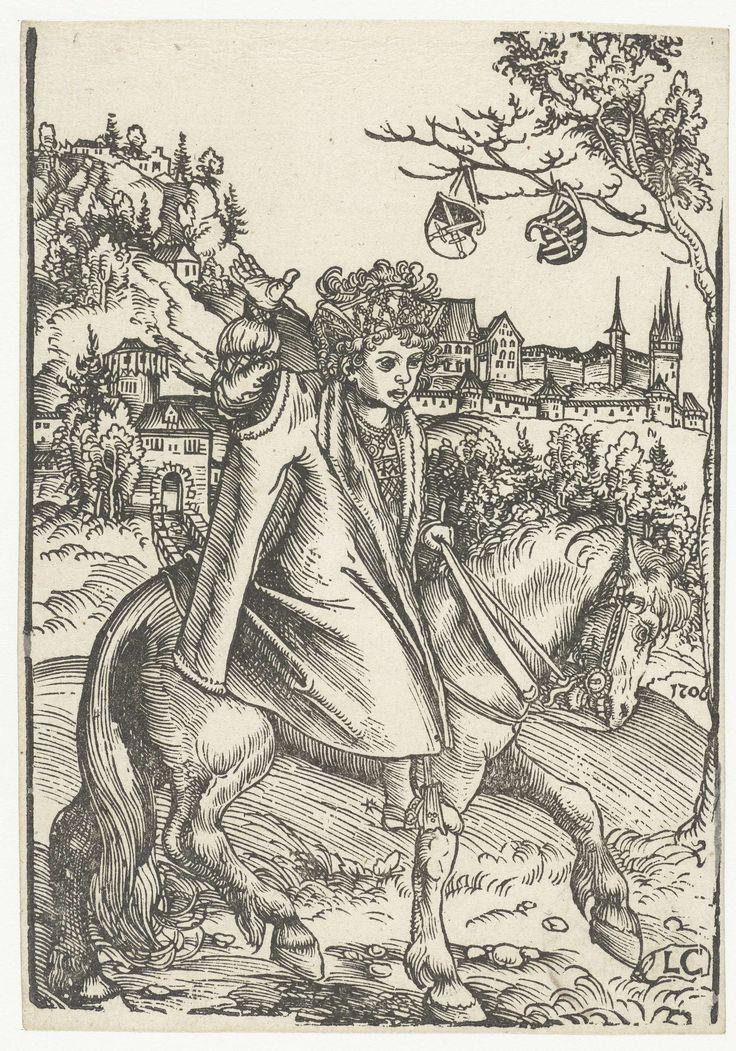 Lucas Cranach (I) | Jongen te paard, Lucas Cranach (I), 1506 | Een jongen rijdt op een paard naar rechts in een landschap. Met zijn linkerhand houdt hij het leidsel vast, zijn rechterarm heeft hij opgeheven. Hij is rijk gekleed in een mantel en een hoofddeksel met veren. Mogelijk is de jongen een Saksische prins. Op de achtergrond ligt een stad met stadsmuren en een stadspoort. Rechts in een boom hangen twee schilden met het keurvorstelijk en hertogelijk wapen van Saksen.
