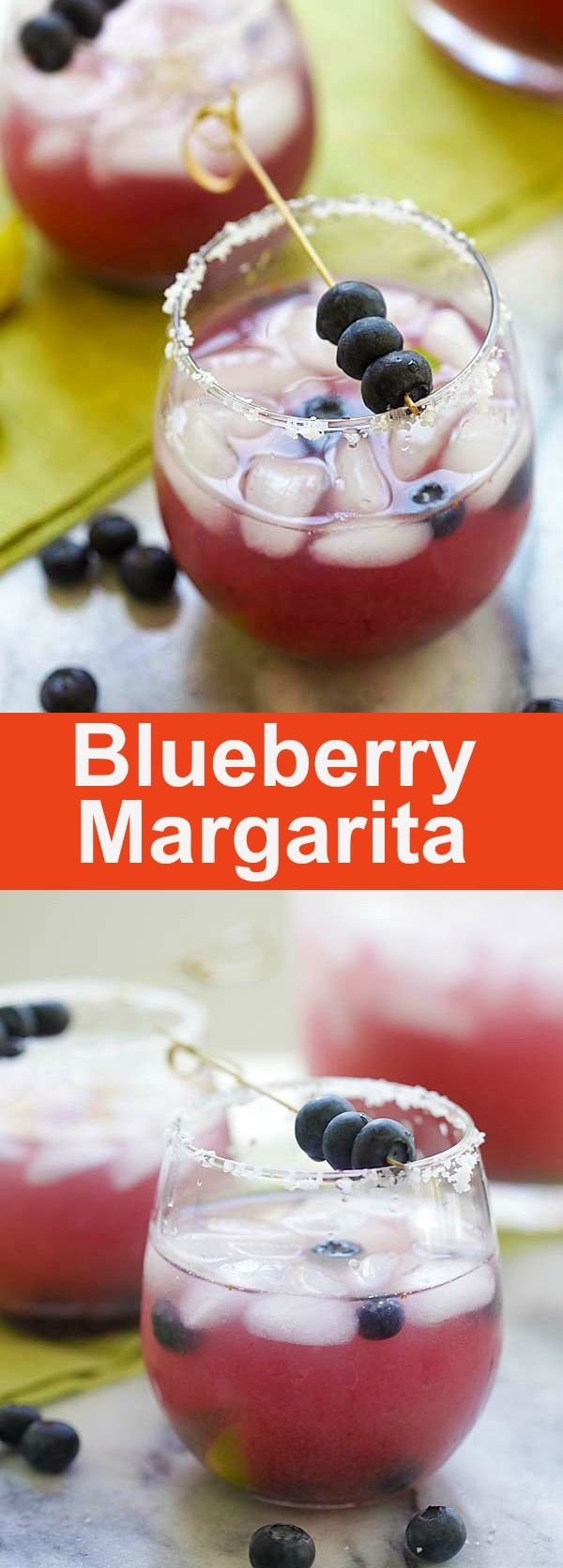 Blueberry Margarita – the booziest blueberry margarita recipe with silver tequila and blueberries. Party is on with this quick and easy recipe   rasamalaysia.com