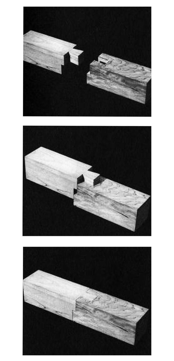 """En Detalle: Especial / Los ensambles de madera en la arquitectura japonesa tradicional,Empalme cola de Paloma. """"Koshikake Aritsugi"""". Image Courtesy of Torashichi Sumiyoshi y Gengo Matsui"""