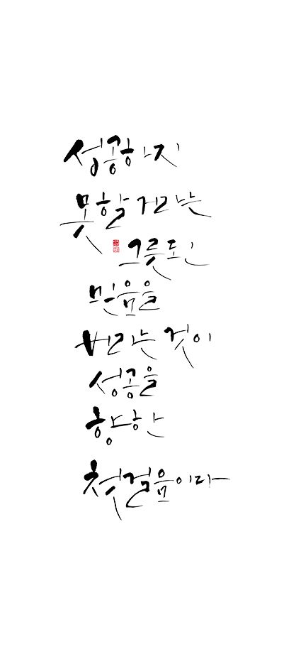calligraphy_ 성공하지 못할 거라는 그릇된 믿음을 버리는 것이 성공을 향한 첫걸음이다.   앤드류 매튜스