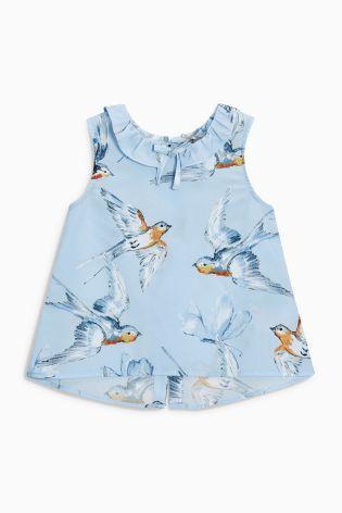 Blue Bird Print Bow Blouse (3 か月~6 歳) Next 日本でショッピング
