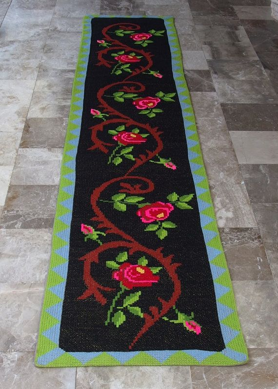 Vintage Embroidered Rug Runner Long by VintageHomeStories on Etsy