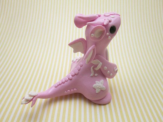OOAK Hand Made Polymer Clay Light Pink Flower by KriannaCrafts