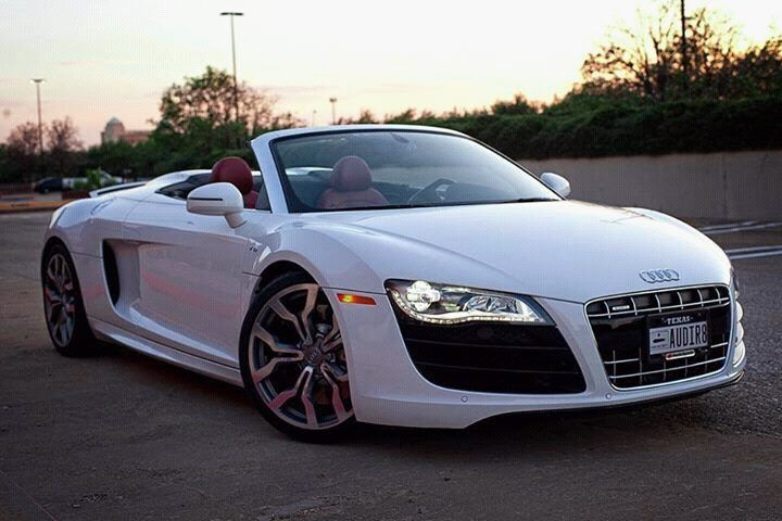 White #Audi R8, Convertable