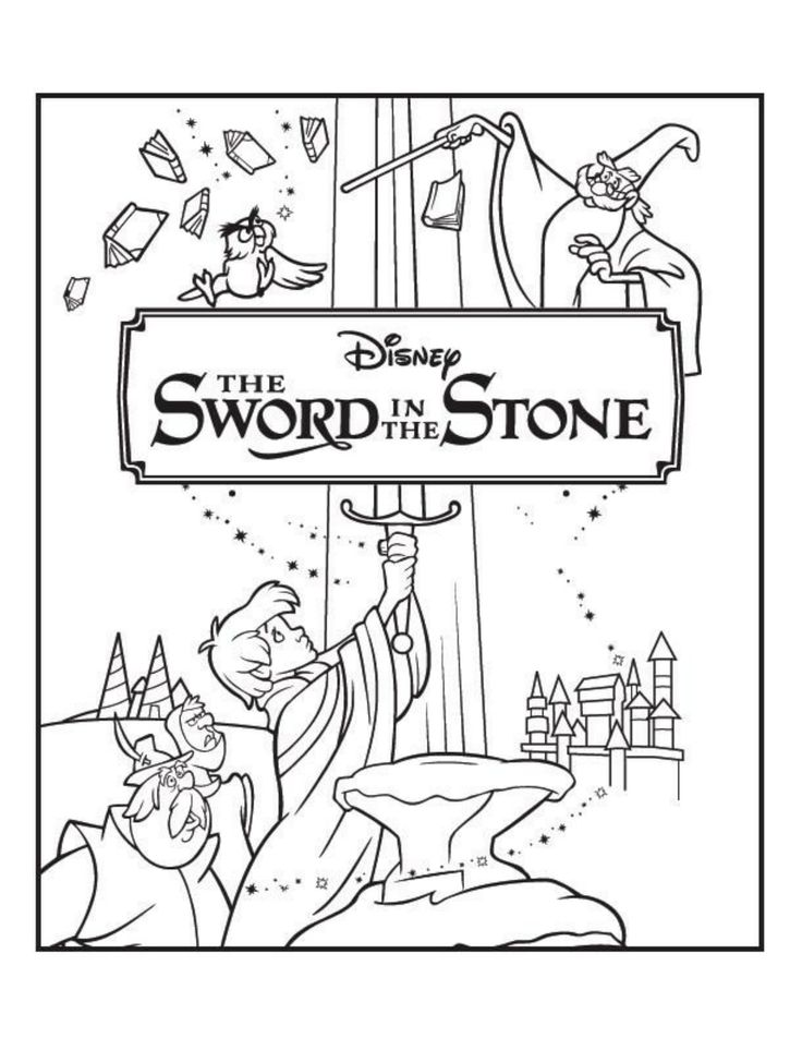 Delightful Sword In The Stone Coloring Page   Sword In The Stone Movie Night   Disney  Movie Night   Family Movie Night
