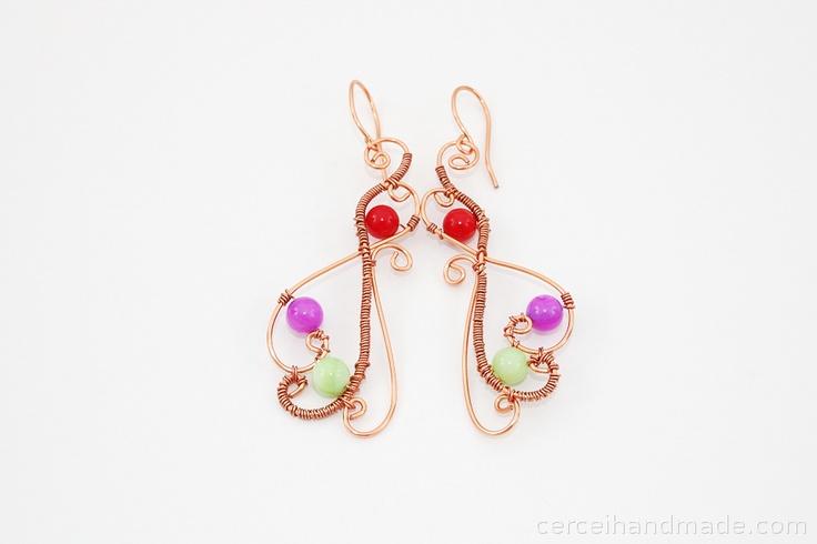 Cercei cupru multicolori de cinderellabijou Breslo