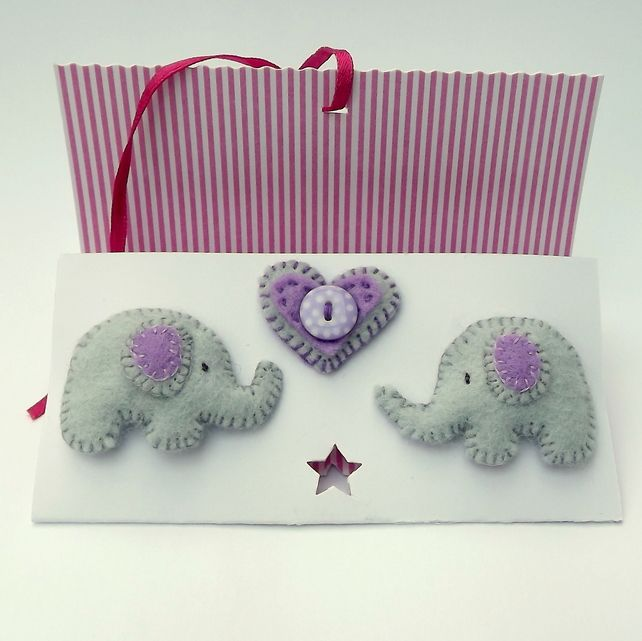 Elephant Felt Hairclips - Folksy