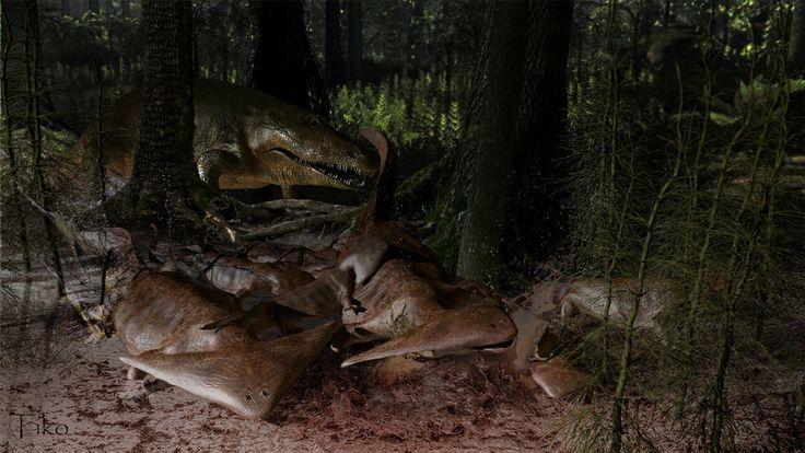 Eryops+hunts+for+Diplocaulus+by+Ntvtiko.deviantart.com+on+@DeviantArt