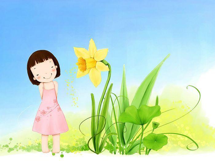 Kim Jong Bok Illustrations(Vol.05) : Sweet Childhood Lovely Girl - Little Spring Angle - Sweet Girl Cartoon, Korean Art Illustration 2