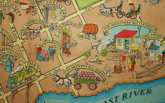 A Map of Manhattan Depicting Some Bright Spots in that Dark Era before the Saloon left the Corner and Moved into the Home Colonial Sales Corp., New York: ...