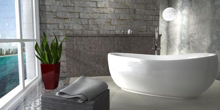 Aranżacja łazienki z wanną Futura. Design i funkcjonalność są tu spięte w harmonijną całość.