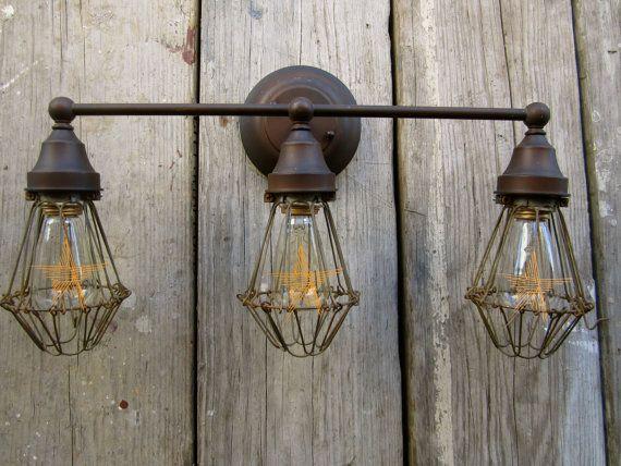 Vintage Industrial Urban Barn Vanity Light Edison Bulb Trouble Cage