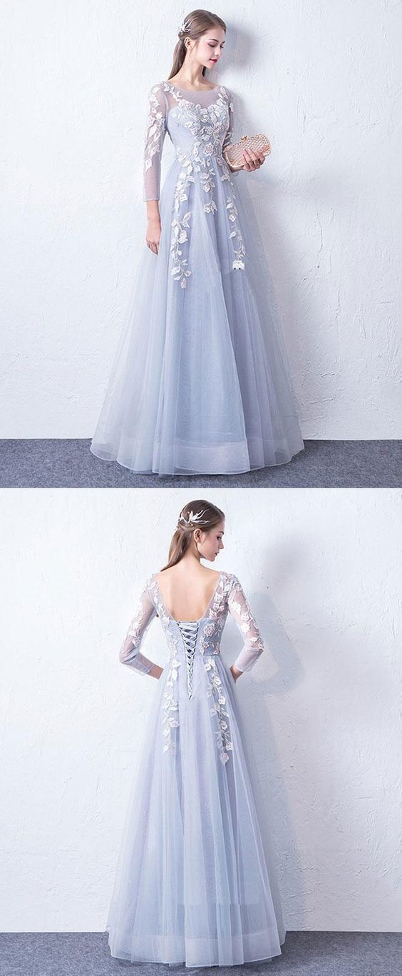 ea5acc8f839 Gray blue cute round neck lace applique tulle long prom dress ...