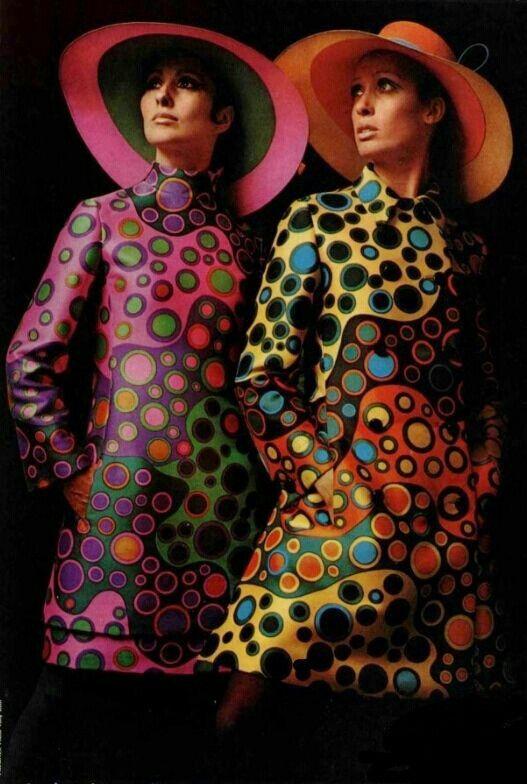 1960's fashion vintage fashion style color photo print ad model magazine 60s 70s graphic print dress yellow black red green purple blue hats mod twiggy