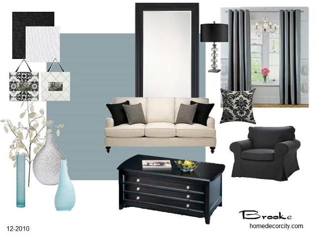 livingroom+decorated+in+blue+and+yellow Living Room Decorating - black and white living room decor
