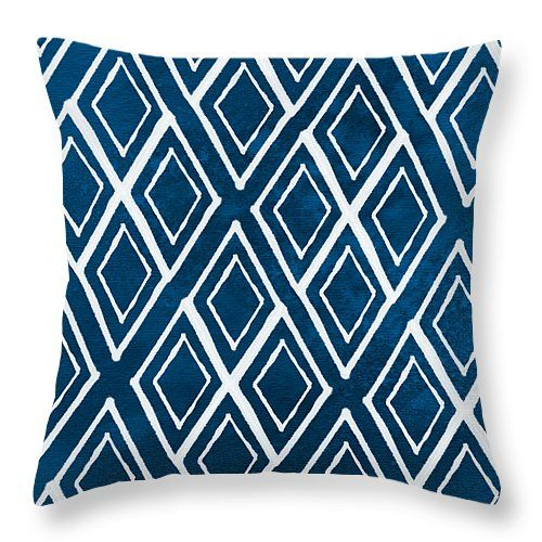 "Indgo and White Diamonds Large Throw Pillow 14"" x 14"" by @lindawoods on Fine Art America"