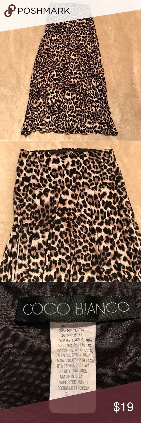 """Animal print maxi Polyester spandex animal print maxi skirt with comfortable tummy tucker band of nylon spandex. Elastic waistband. Preloved in excellent condition.  Waist 12.5"""" across unstretched  Length 38"""" Coco Blanco Skirts Maxi"""
