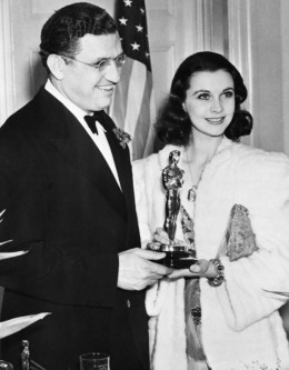 """1939 Vivien Leigh celebrates her Best Actress Oscar for """"Gone with the Wind""""  with David Selznick"""