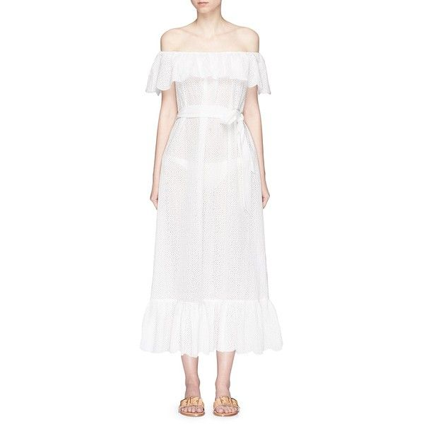 Marysia ''Victoria' ruffle overlay broderie anglaise off-shoulder... (726,435 KRW) ❤ liked on Polyvore featuring dresses, white, white cocktail dress, off shoulder summer dress, off shoulder cocktail dress, white peplum dress and off the shoulder cocktail dress