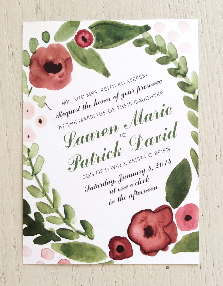 Olive Green and Dusty Rose printable wedding invites by Plaid Poppy Designs