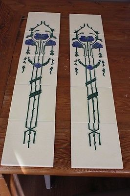 2 conjuntos de 5 Azulejos Art Nouveau De Uma Lareira Ferro Fundido em torno de 1900
