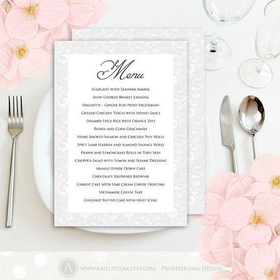 Printable Menu Instant download EDITABLE Text Template PDF file - Digital White & Gray Wedding Menu Card - DIY Menu Cards for Print at Home