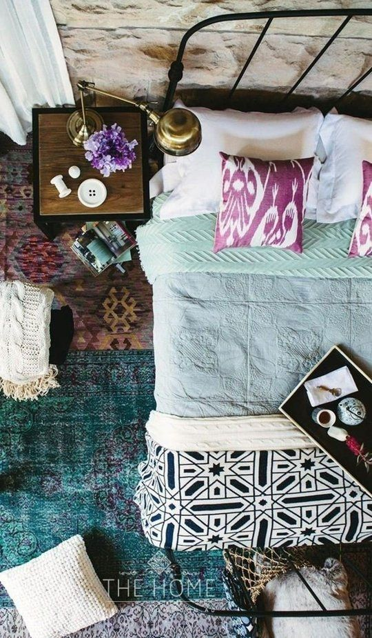A Gallery of Bohemian Bedrooms -love the lamp and the rugs