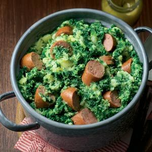 Kale with sausage - (Translated: Boerenkool met worst). Traditional food what people think the Dutch eat it all the time.