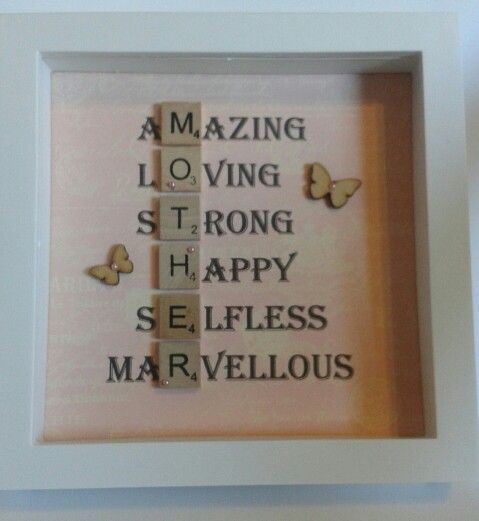 Scrabble Tile frame mothers day gift idea.